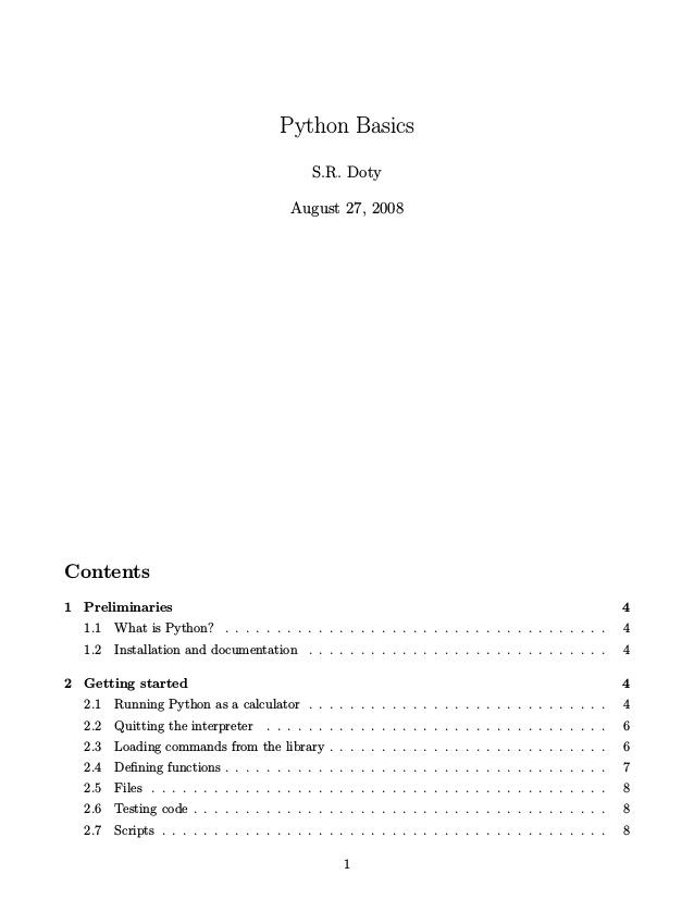 Python Basics, 2008, S.R. Doty